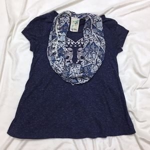 Lily Bleu Navy Elephant Shirt W/ Scarf